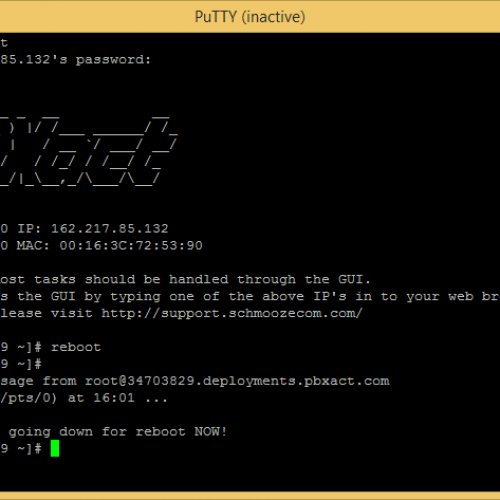 PBXact Reboot Command