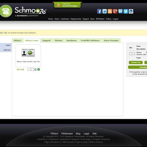 Schmooze Portal - PBXact SaaS License Checkout
